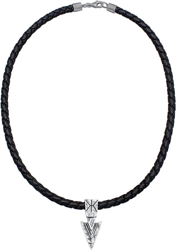 Kuzzoi ,collana da uomo in pelle bovina intrecciata ,con ciondolo in argento sterling 925 0101322419_50