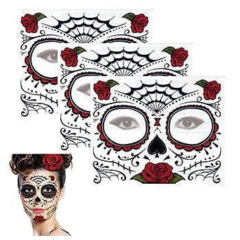 Sugar Skull Temporary Tattoo Rose Design  3 Tattoo Kits