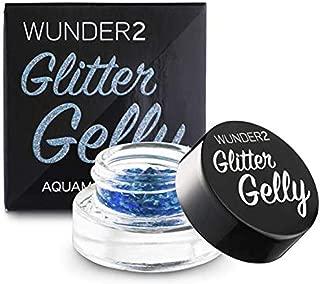 WUNDER2 GLITTER GELLY Long Lasting Glitter Gel - Face, Eye and Body Glitter Makeup, Aquamarine Color