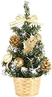 iZHH Tabletop Xmas Tree with Artificial Flowers Christmas Hanging Ball Table Decor Mini Christmas Tree Holiday Decorations Ornament Supplies