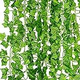 KASZOO® Efeu Künstlich Girlande, 12 Stück Grün Efeu mit Nylon Kabelbinder Pflanzen Efeuranke für Garten Hochzeit Party Wanddekoration