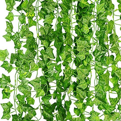 KASZOO 12-pack konstgjorda murgröna girlang falska växter, klätterväxt hängande girlang, hängande för hem kök trädgård kontor bröllop väggdekor, grön