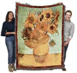 Vase with Twelve Sunflowers - Vincent Van Gogh - Cotton Woven Blanket Throw - Made in The USA (72x54)