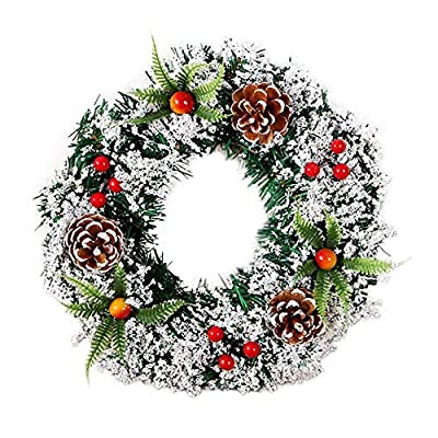 Fine Christmas Wreath for Front Door, Xmas Wreath with Red Bow, Ball Berries Pine Core Artificial Christmas Door Wreath Indoor Outdoor Party Decor (A)