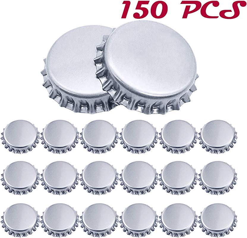 WTSHOP 150 PCS Crown Bottle Caps Beer Bottle Cap Decorative Bottle Caps Silver Oxygen Barrier Crown Caps