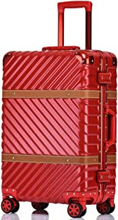 SMLCTY Cabin Luggage,Ultra-Lightweight And Durable Aluminum Frame Frosted Wear-Resistant Waterproof Suitcase 360° Mute Caster (Color : Red, Size : 28 inch)