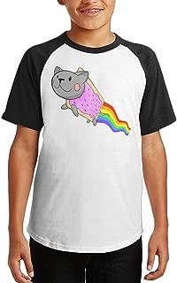 Nyan Cat Cute T Shirt for Callan Athletic Baseball Raglan Tee Shirts Short Sleeves Raglan T Shirts