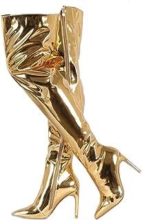 Best gold metallic thigh high boots Reviews