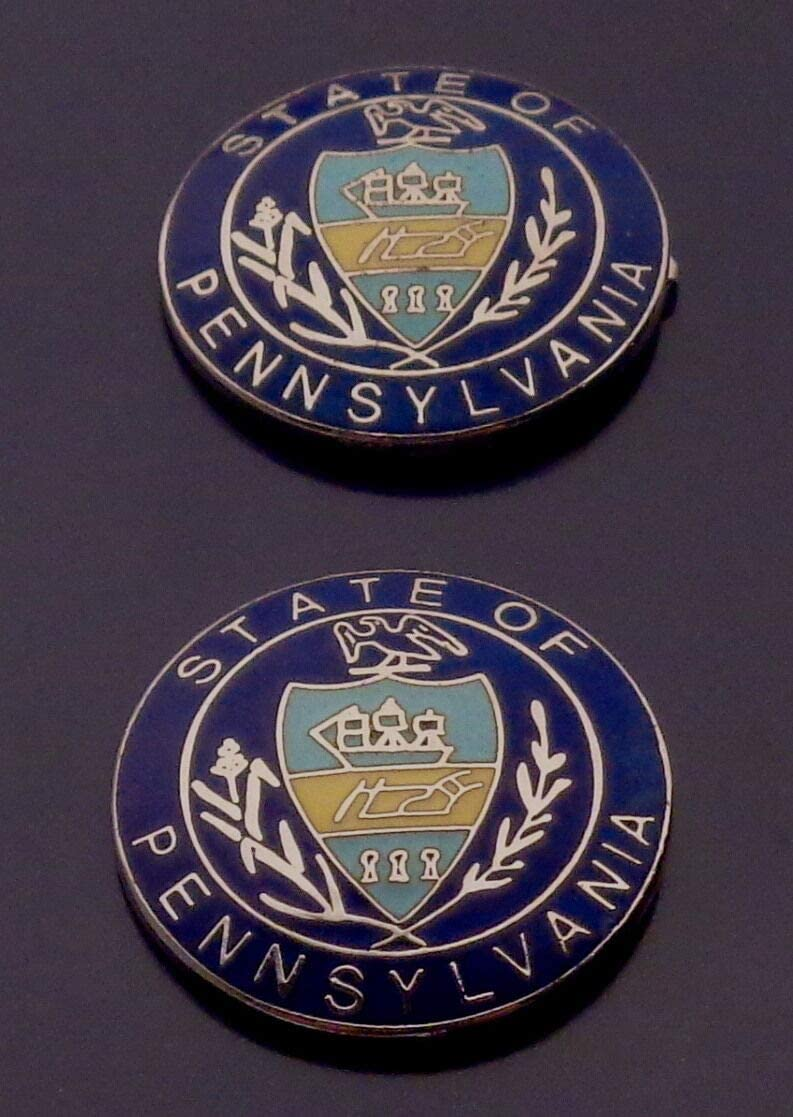 2 State of Pennsylvania Collar Lapel PINS Outstanding Silver Police Seal Spasm price PA