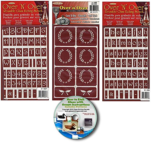 Upper Case & Lower Case Letter Stencils with Crests (3) Pack , Over N Over Reusable + How to Etch CD
