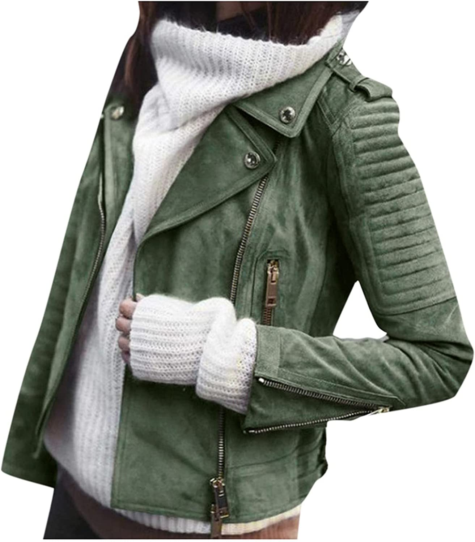 BEUU Women's Faux Suede Jackets Casual Long Sleeve Zipper Up Short Moto Biker Coat Open Front Cardigan Punk Streetwear