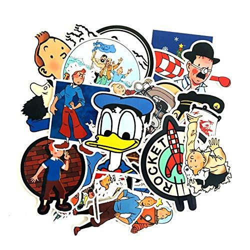 RSZHHL Sticker de Carro 25 Piezas de Las Aventuras de Tintin Pegatinas para niños Maleta de Dibujos Animados portátil Motocicleta Coche Scrapbooking monopatín Pegatina