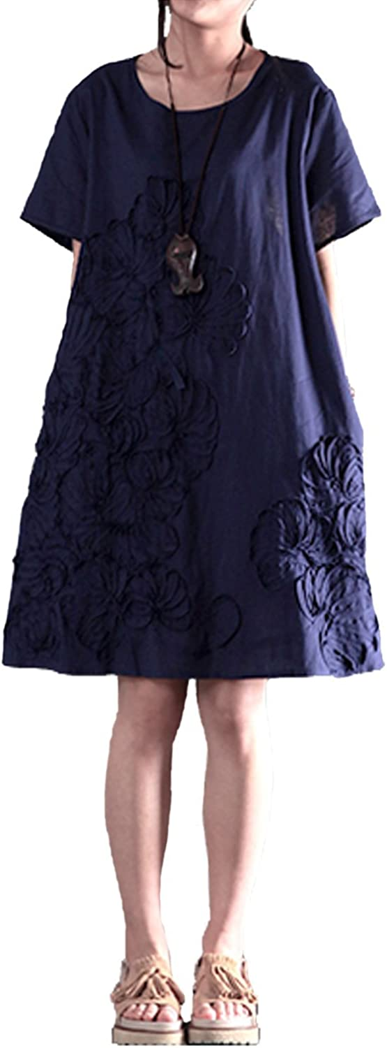 Fancy beautystyle Women's clothing summer dress loose dress embroidered cotton dress plus size dress