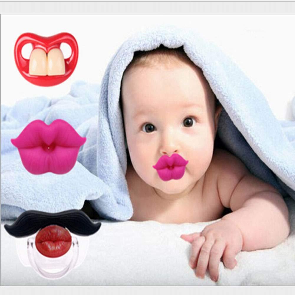 SELUXU Funny Baby Bigote Chupetes Suave Silicona simpático Chupete Design con besar Labio Funny Dientes recién Nacido Caballero Bigote: Amazon.es: Hogar