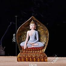Resin Thai Buddha Meditation Peace Harmony Statue Religious Decoration Southeast Asian Style Crafts 16×7.5×22cm CQQO (Colo...