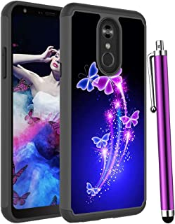Voanice forLG Stylo 4 Case,LG Stylo 4 Plus Case, Shockproof Heavy Duty Hybrid Dual Layer Rugged Protective Hard PC&TPU Phone Armor Women Men Cover &Stylus for LG Stylo 4/LG Q Stylus -Purple Butterfly
