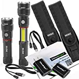 2 pack Nebo Slyde King 330 Lumen 6434 USB rechargeable LED flashlight/Worklight, rechargeable Li-ion battery, 6561 holster with EdisonBright USB charger bundle