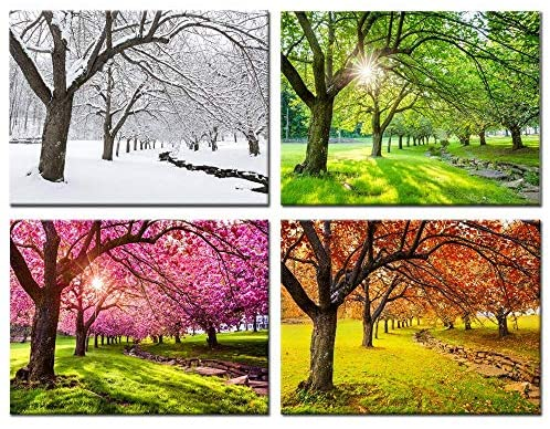 Kreative Arts 4 Piece Canvas Wall Art Spring Summer Autumn Winter Four Seasons Landscape Colorful Tree Painting Picture Prints Modern Giclee Artwork Stretched Framed Bathroom 16x20inchx4pcs Amazon Ca Home Kitchen