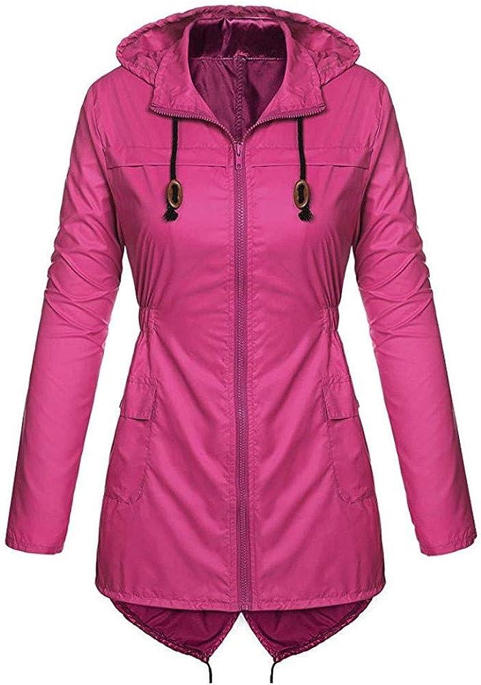 Womens Jacket Women Tops - Women's Lightweight Hooded Raincoat Waterproof Active Outdoor Rain Jacket Coat