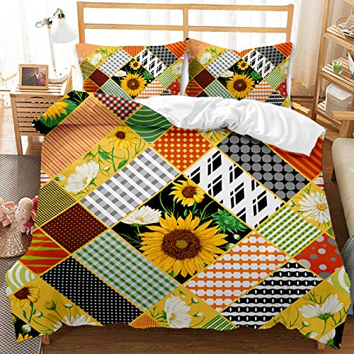 Microfiber Warm And Comfortable Bedding, 3D Sunflower Pattern Extra-Large Soft And Breathable Duvet Cover Set, Girls And Boys Bedroom Home Textiles With 2 Pillowcases
