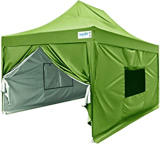 Quictent Privacy 10x15 EZ Pop Up Canopy Tent Instant Outdoor Folding Party Tent with Sidewalls, Mesh Windows Roller Bag Waterproof -5 Colors (Green)