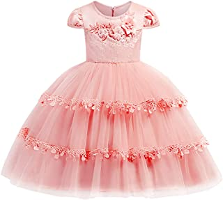 JOYMOM Girls Round Neck Cap Sleeve 3D Flower Layered Ruffle Hem Pageant Dresses