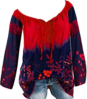 Sceoyche Women V-Neck Lace Printed Bandage Long Sleeves Plus Size Tops Loose Blouse