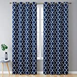 HLC.ME Lattice Print Decorative Blackout Thermal Insulated Privacy Room Darkening Grommet Window Drapes Curtain Panels for Bedroom - Navy Blue - Set of 2-52 x 72 Inch Length
