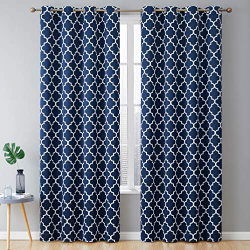 "HLC.ME Lattice Print Thermal Insulated Blackout Room Darkening Energy Efficient Window Curtain Grommet Panels - Set of 2-52"" W x 84"" L - Navy"