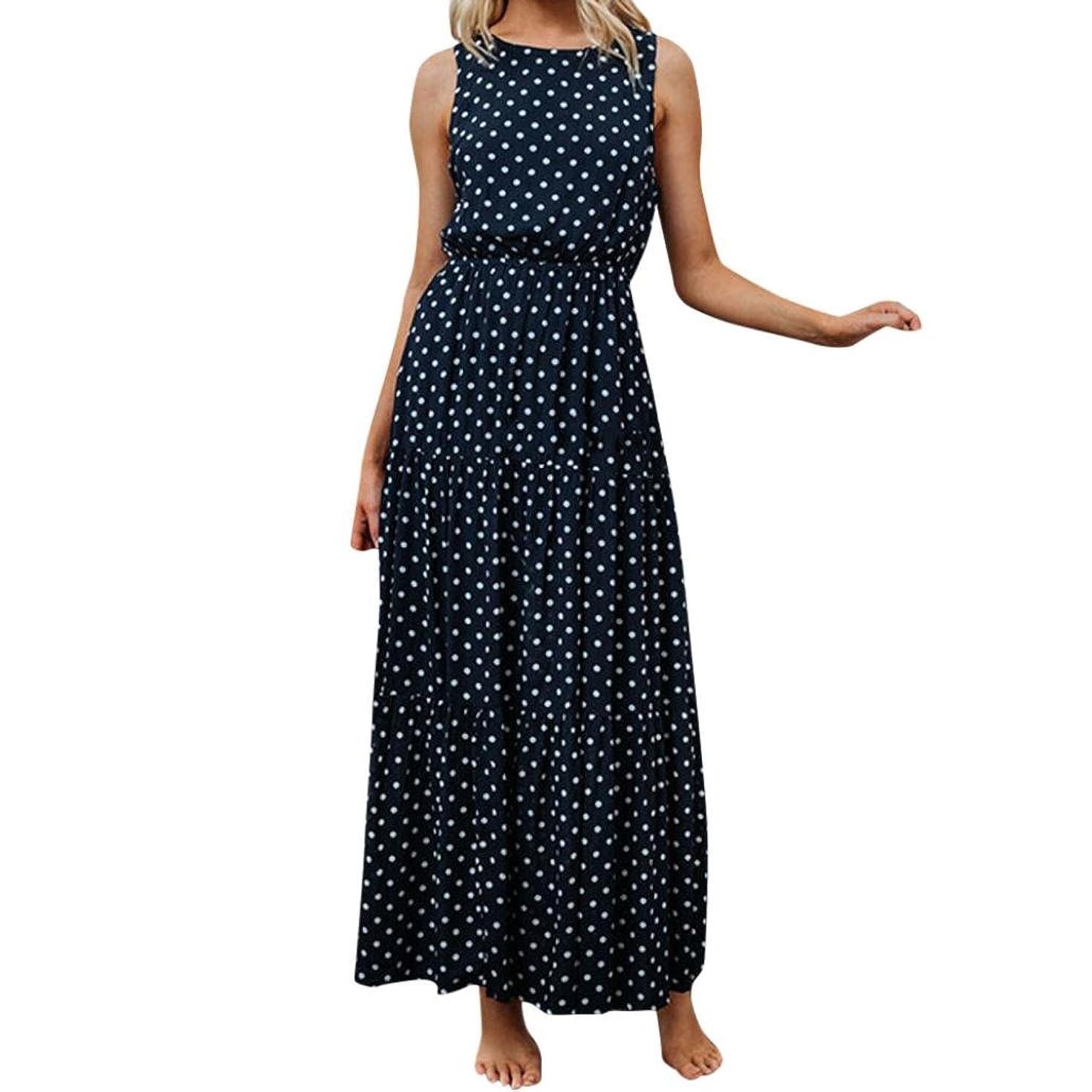 Hemlock Long American Flag Dress, Women Flag Printed Dress Sleeveless Tank Beach Maxi Sundres (L, Navy)