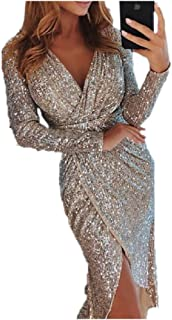 MogogoWomen Sequins V-Neck Long-Sleeve Party Maxi and Midi Pencil Sheath Dress