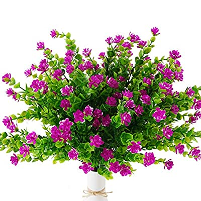 U/N Artificial Outdoor UV Resistant Eucalyptus Flowers 7pcs Faux Plastic Plants Greenery Shrubs Indoor Outside Hanging Plants for Home Party Garden Decor