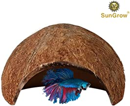 SunGrow Betta Cave, Coconut Shell Habitat, Soft, Smooth Edged Spacious Hideout for..
