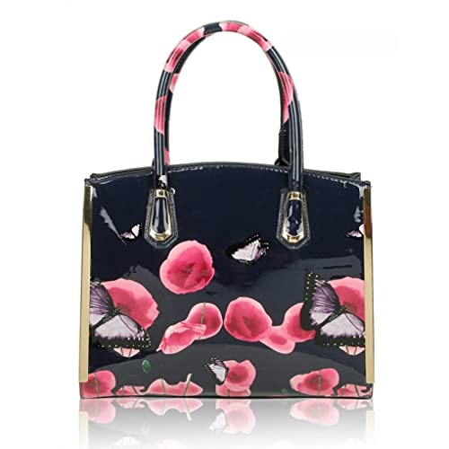LeahWard® Women s Patent Faux Leather Poppy Flower Bags Poppies Butterfly  Handbag Shoulder Bags For Women d13c9af041aa0