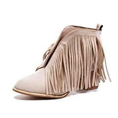 c5ad3702c263d Fringe wedge bootie - Boots - Casual Women's Shoes