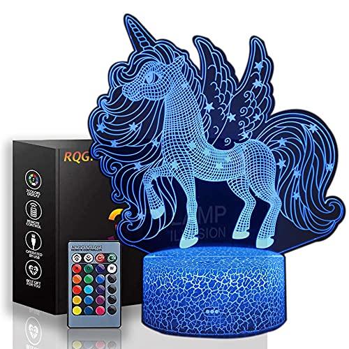 Lámpara de ilusión 3D LED noche luz unicornio 16 colores cambiantes Touch lámpara de escritorio para niños cumpleaños regalos de Navidad