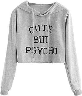 XUANOU Ladies Cute But Psycho Letter Hooded Slim Sweatshirt Women Long Sleeve Slogan Print Hoodie Blouse Tumblr Oversize Top