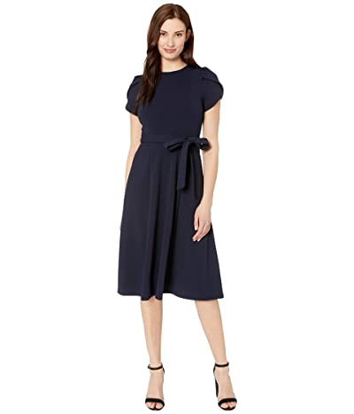 Calvin Klein Belted Tulip Sleeve Midi Dress (Indigo) Women