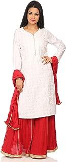 Women's Off White Viscose Salwar Kameez Dupatta