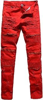 Men's Moto Biker Jeans Distressed Ripped Skinny Slim Fit Denim Pants with Zippers