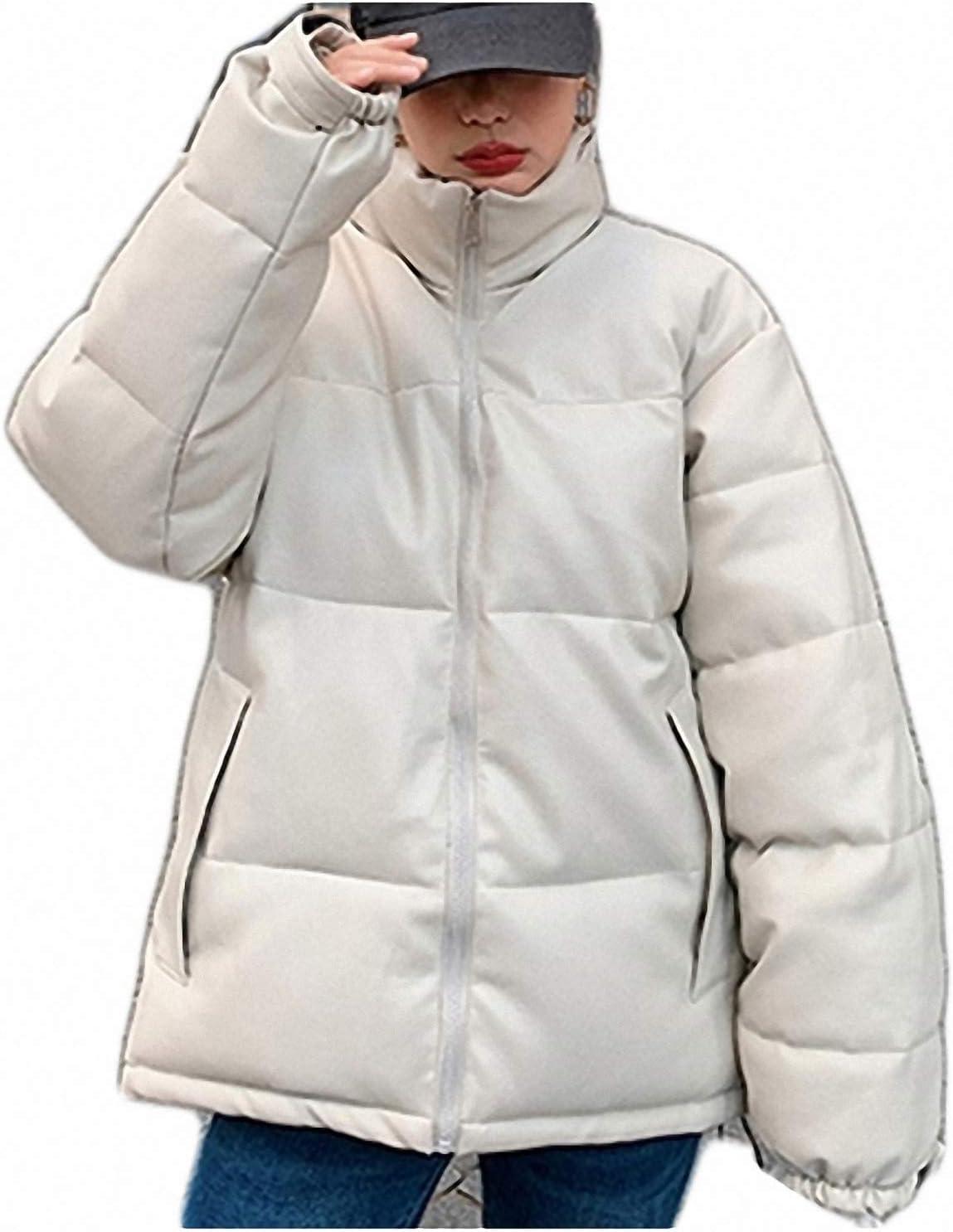 Autumn Winter Women Jackets Quilted Puffer Parkas Warm PU Leather Oversize Short Coat Beige S