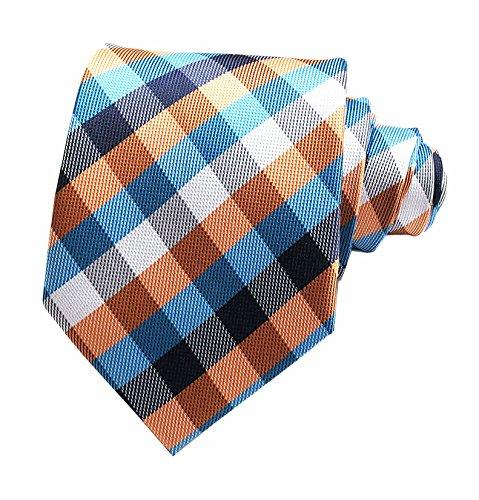 Secdtie Men's Slim Check Stripe Silk Ties Jacquard Formal Plaid Necktie for Gift