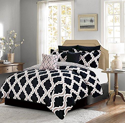 Bedding Comforter 7 Piece Queen Size Bed Set, Black and Tan Quatrefoil