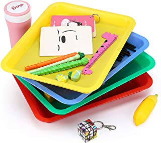 BTSKY Multiuse Arts and Craft Organizer Trays, Easy Clean Activity Plastic Tray, Serving Tray, Great for Crafts, Beads, Orbeez Water Beads, Painting Classroom Storage Set of 4 Color Red, Yellow, Green