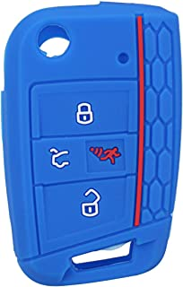 TT WARE 4 Buttons Silicone Car Key Case Three-dimensional Texture-Blue
