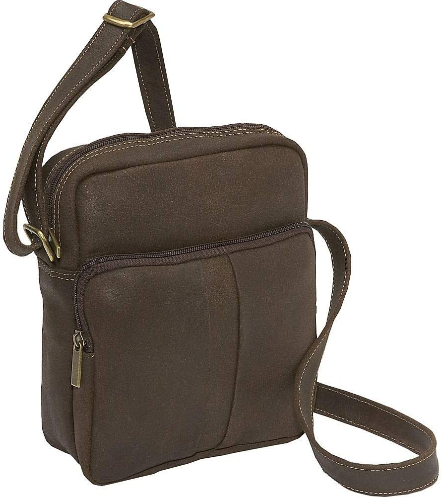Le Donne Leather Distressed Leather Mens Day Bag (Chocolate)