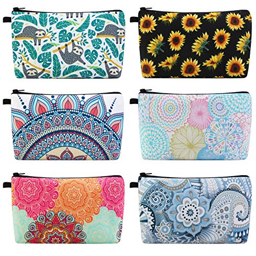 MAGEFY Makeup Bag 6 Styles Portable Travel Cosmetic Bag for Women Flower Patterns Zipper Pouch Sloth Gifts Makeup Pouch for Girls with Black Zipper (6 packs)