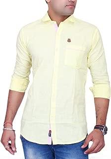 La Milano Men's Solid Shirt Yellow