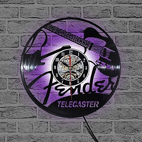 YAZCC Schallplatte Design Wanduhr TV-Sender Musikzimmer Wanduhr Quarzmechanismus schwarz Schallplatte Tisch