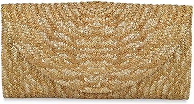xmeng Damen Handtasche aus Stroh geflochten Geldbörse Umschlag Tasche für Sommer Strand